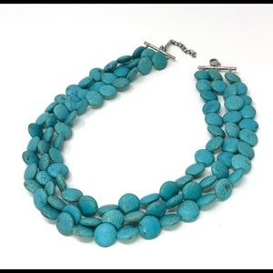 Jewelry - 3 Strand Faux Turquoise Beaded Statement Necklace